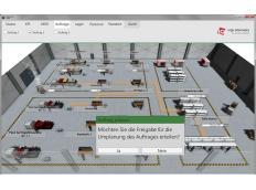 Smarte Produktion mit 3D-Hallenplan.